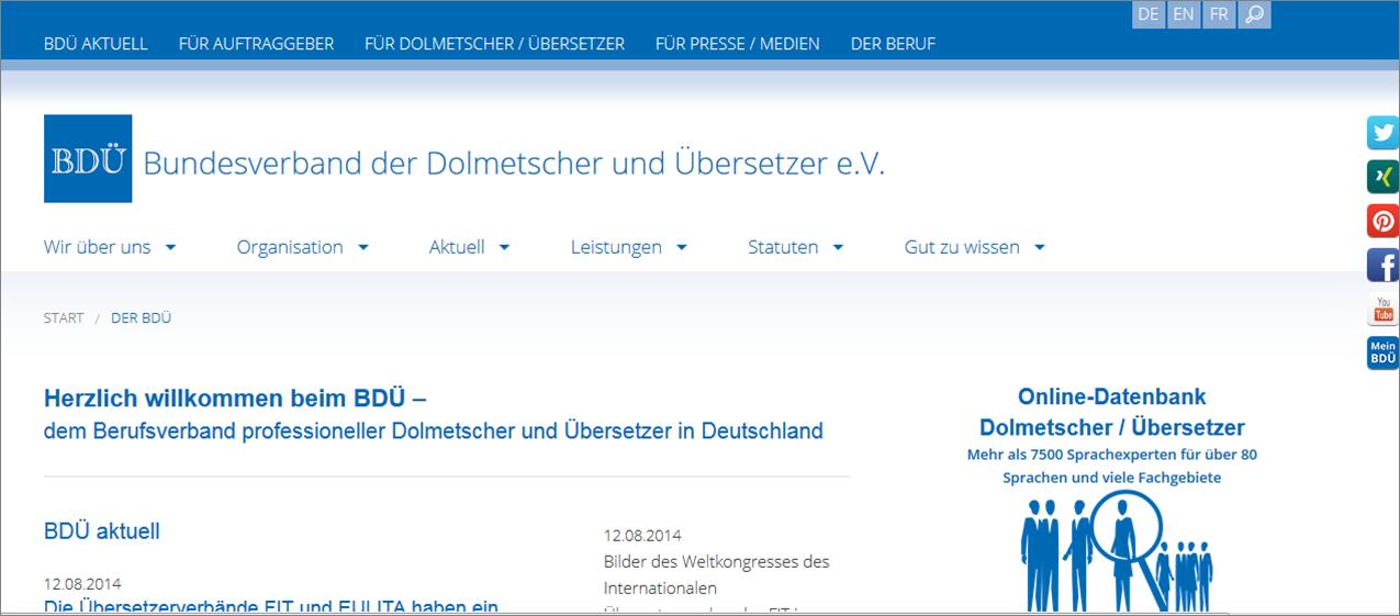 Homepage Bundesverband der Dolmetscher und Übersetzer